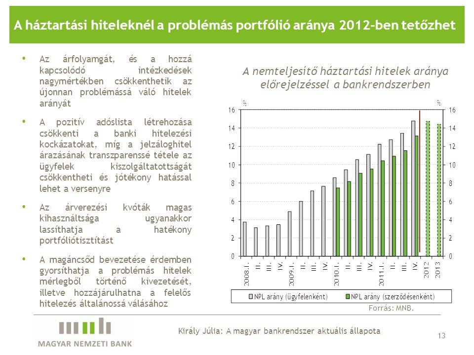 A háztartási hiteleknél a problémás portfólió aránya 2012-ben tetőzhet