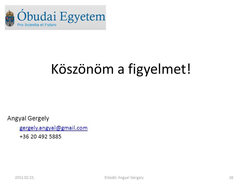 Előadó: Angyal Gergely