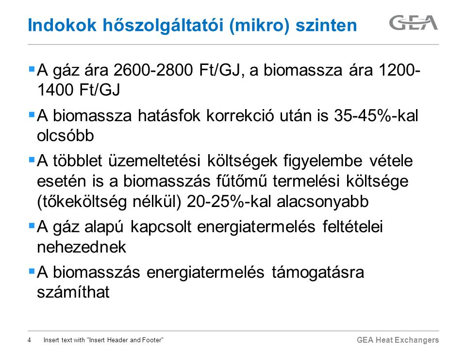 Indokok hőszolgáltatói (mikro) szinten