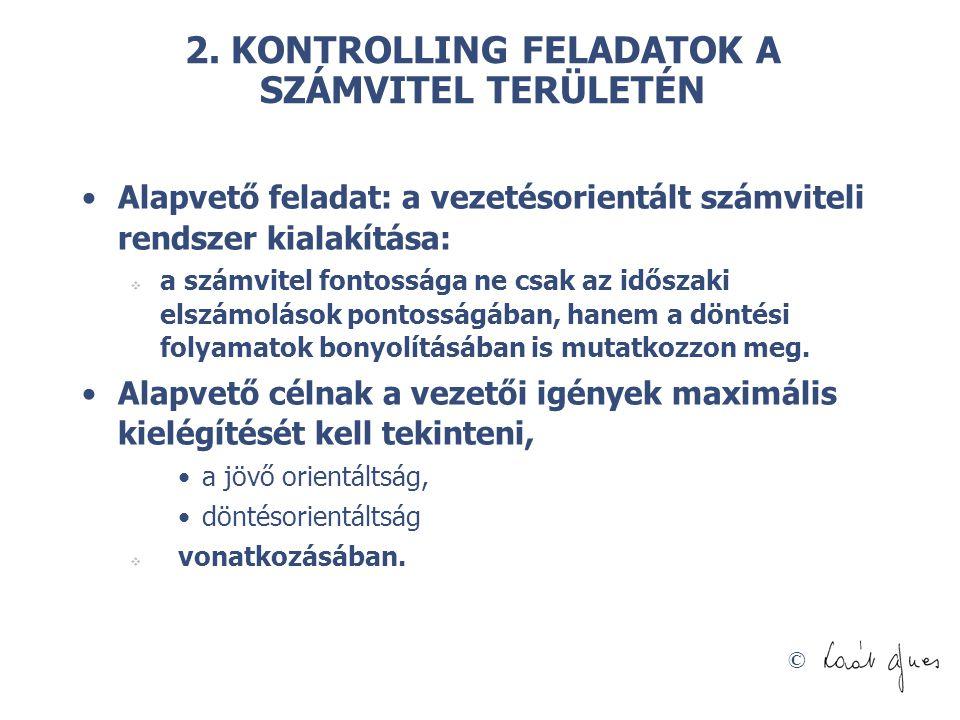 2. KONTROLLING FELADATOK A SZÁMVITEL TERÜLETÉN