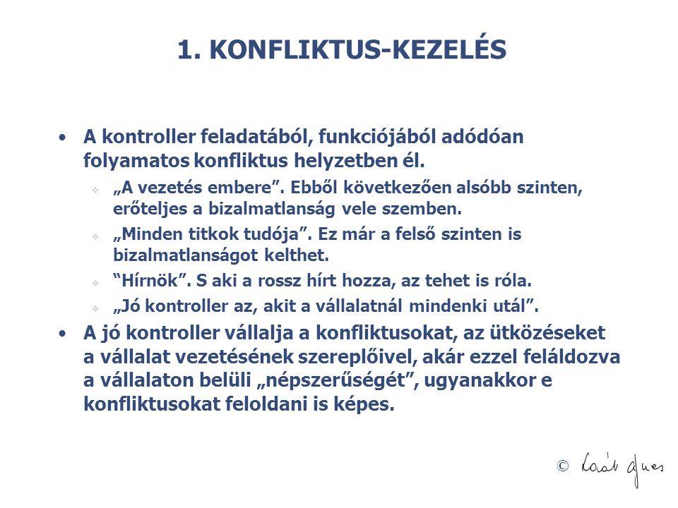 1. KONFLIKTUS-KEZELÉS A kontroller feladatából, funkciójából adódóan folyamatos konfliktus helyzetben él.