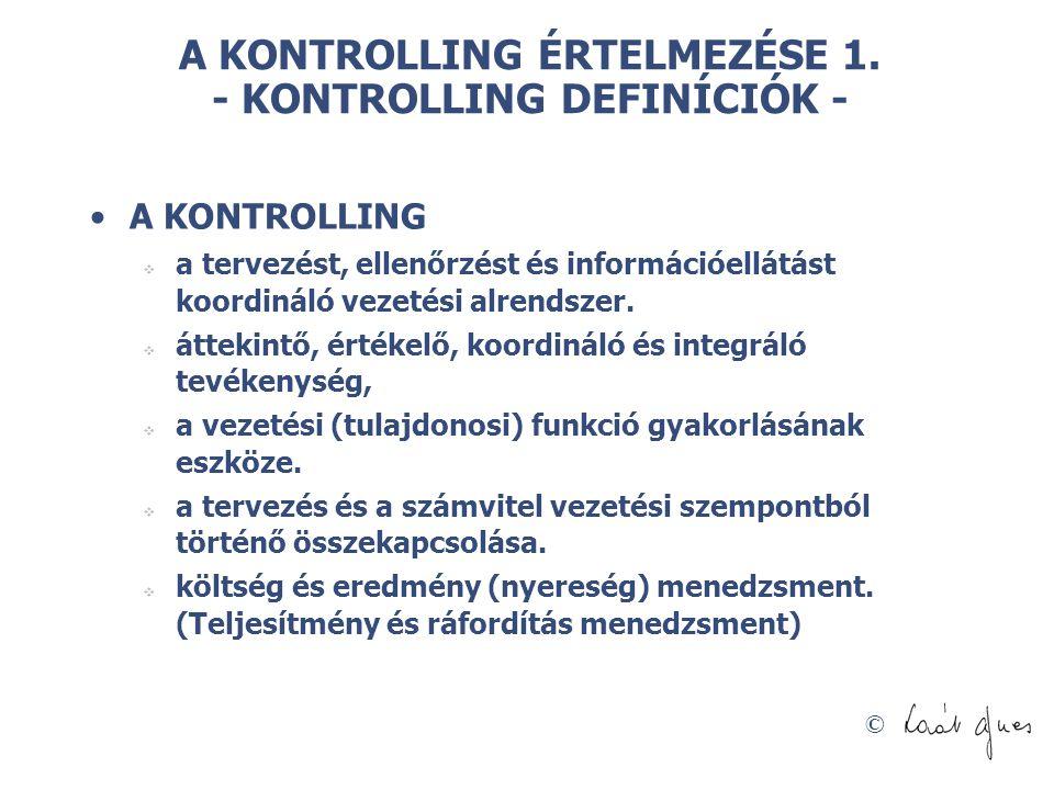 A KONTROLLING ÉRTELMEZÉSE 1. - KONTROLLING DEFINÍCIÓK -