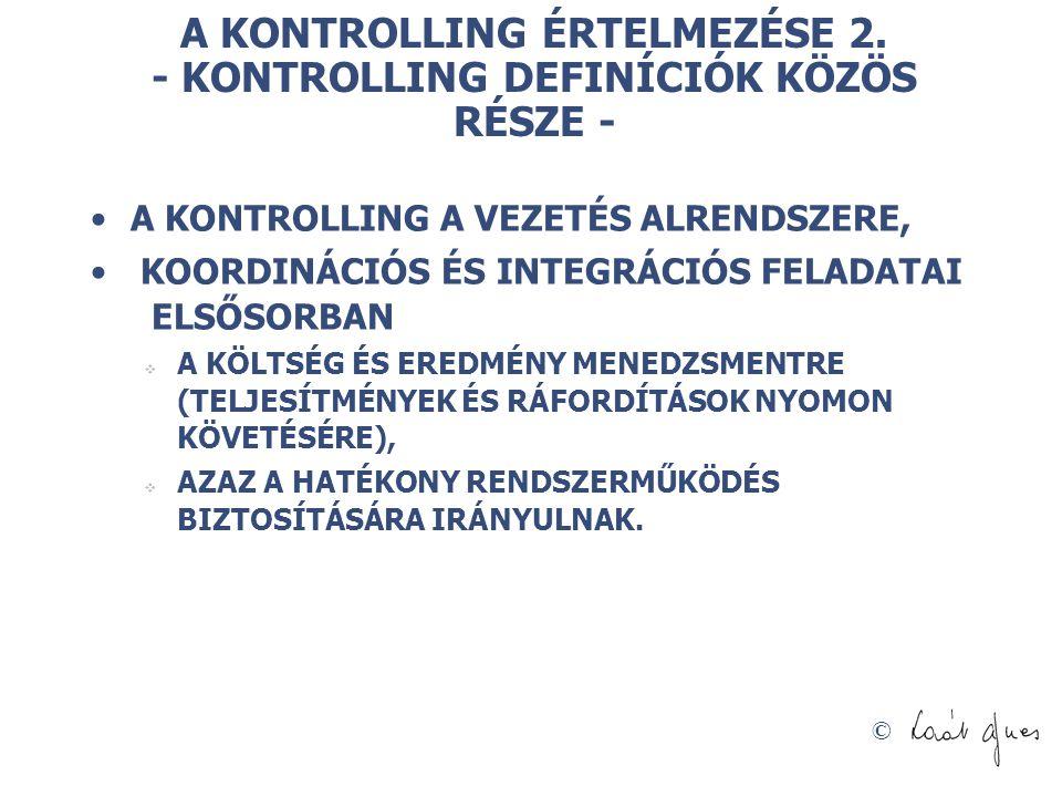 A KONTROLLING ÉRTELMEZÉSE 2. - KONTROLLING DEFINÍCIÓK KÖZÖS RÉSZE -