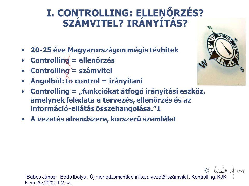 I. CONTROLLING: ELLENŐRZÉS SZÁMVITEL IRÁNYÍTÁS