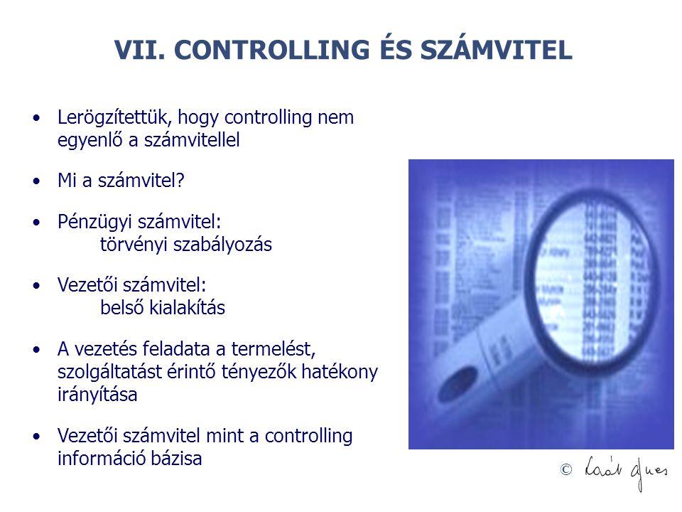 VII. CONTROLLING ÉS SZÁMVITEL