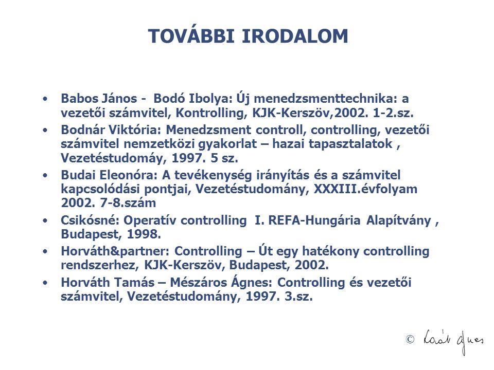 TOVÁBBI IRODALOM Babos János - Bodó Ibolya: Új menedzsmenttechnika: a vezetői számvitel, Kontrolling, KJK-Kerszöv,2002. 1-2.sz.