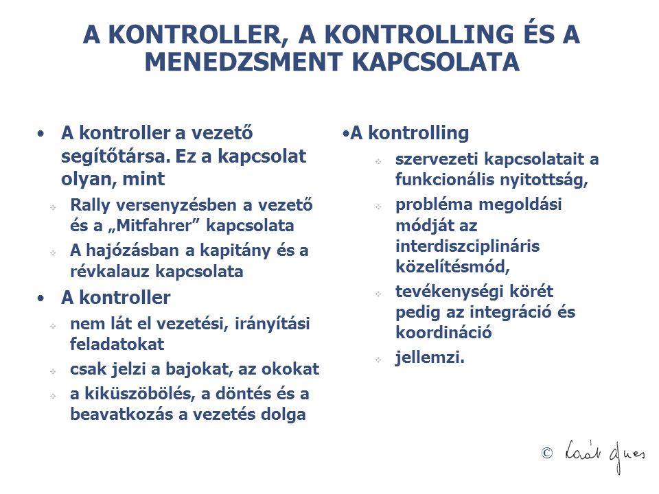 A KONTROLLER, A KONTROLLING ÉS A MENEDZSMENT KAPCSOLATA