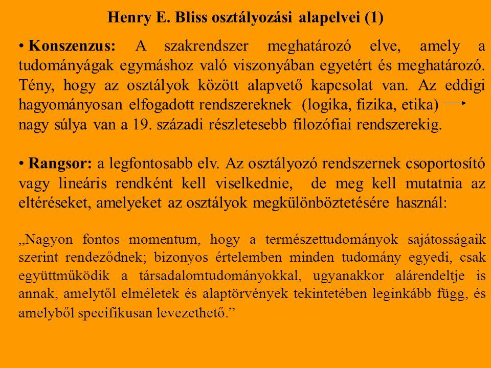 Henry E. Bliss osztályozási alapelvei (1)