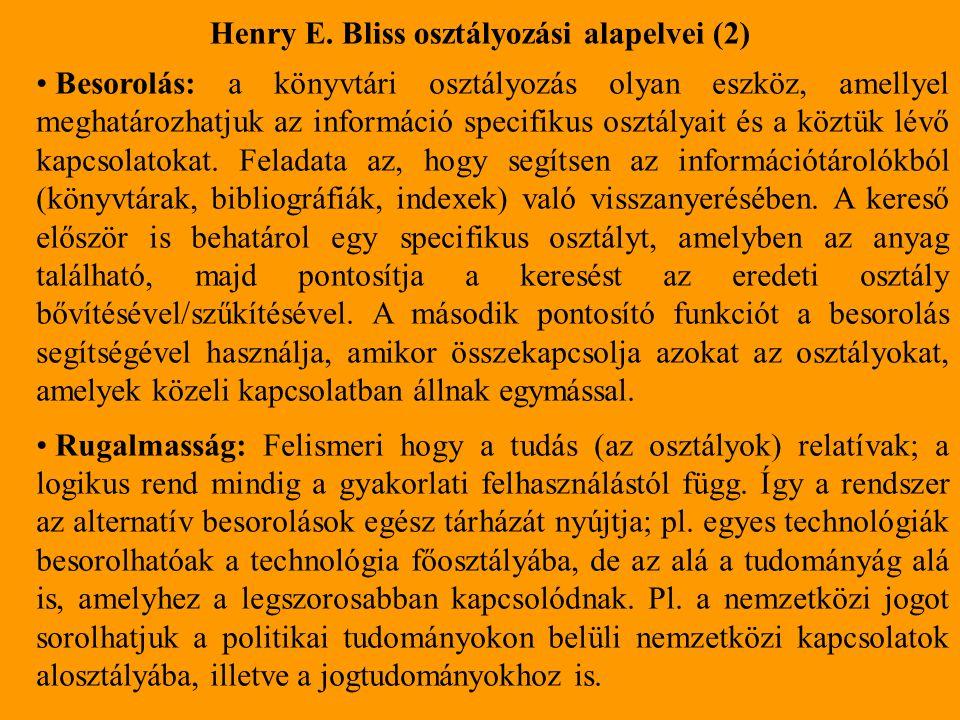 Henry E. Bliss osztályozási alapelvei (2)
