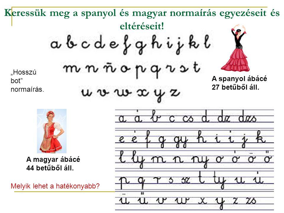Keressük meg a spanyol és magyar normaírás egyezéseit és eltéréseit!