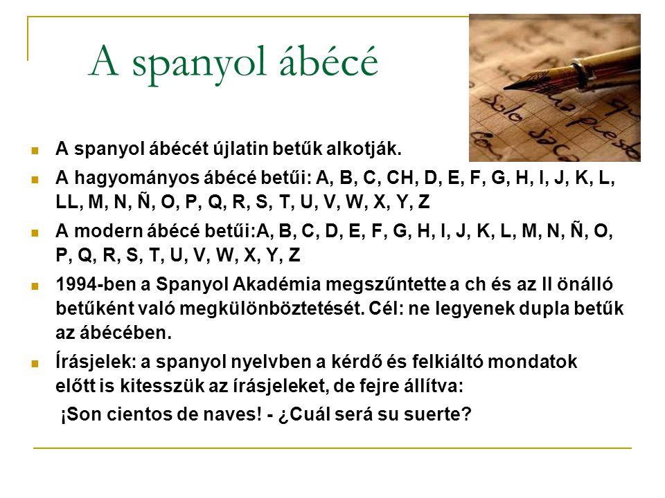 A spanyol ábécé A spanyol ábécét újlatin betűk alkotják.