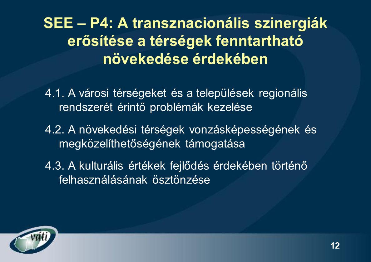 SEE – P4: A transznacionális szinergiák erősítése a térségek fenntartható növekedése érdekében