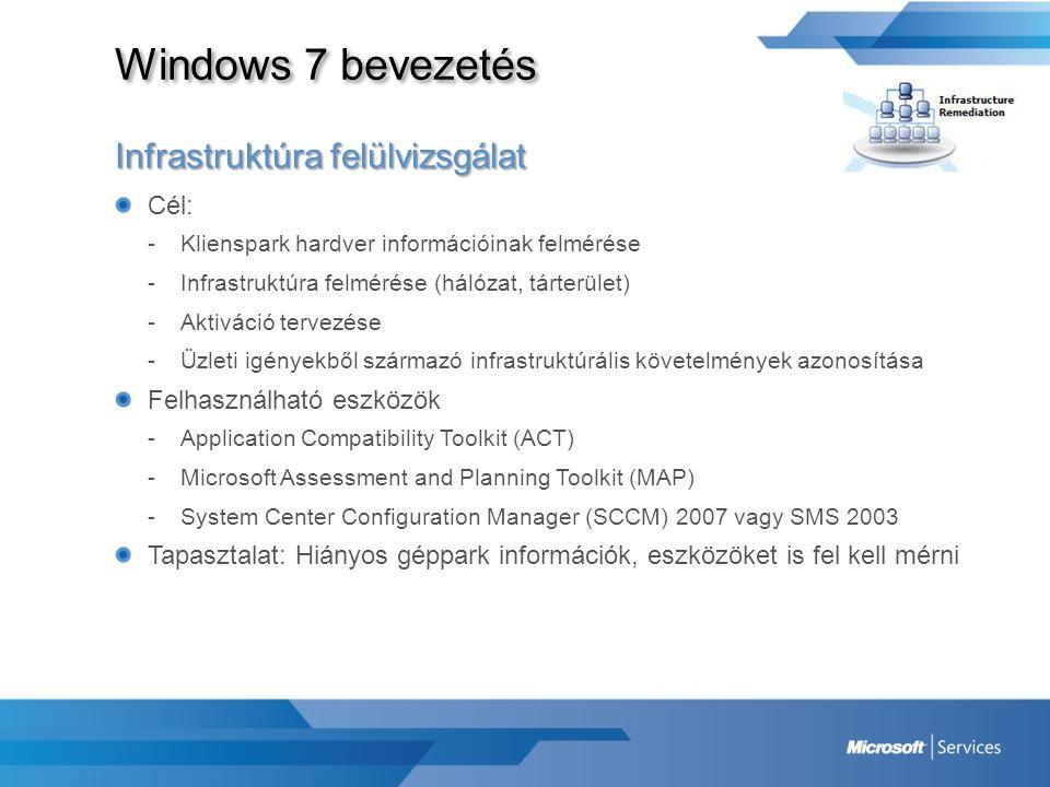 Windows 7 bevezetés Infrastruktúra felülvizsgálat Cél:
