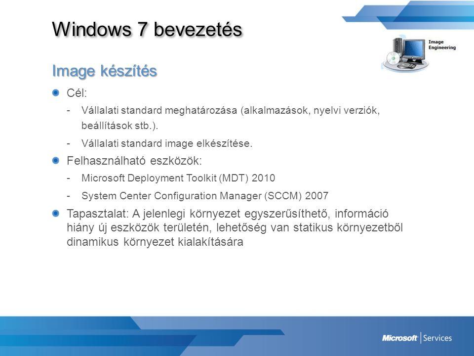 Windows 7 bevezetés Image készítés Cél: Felhasználható eszközök:
