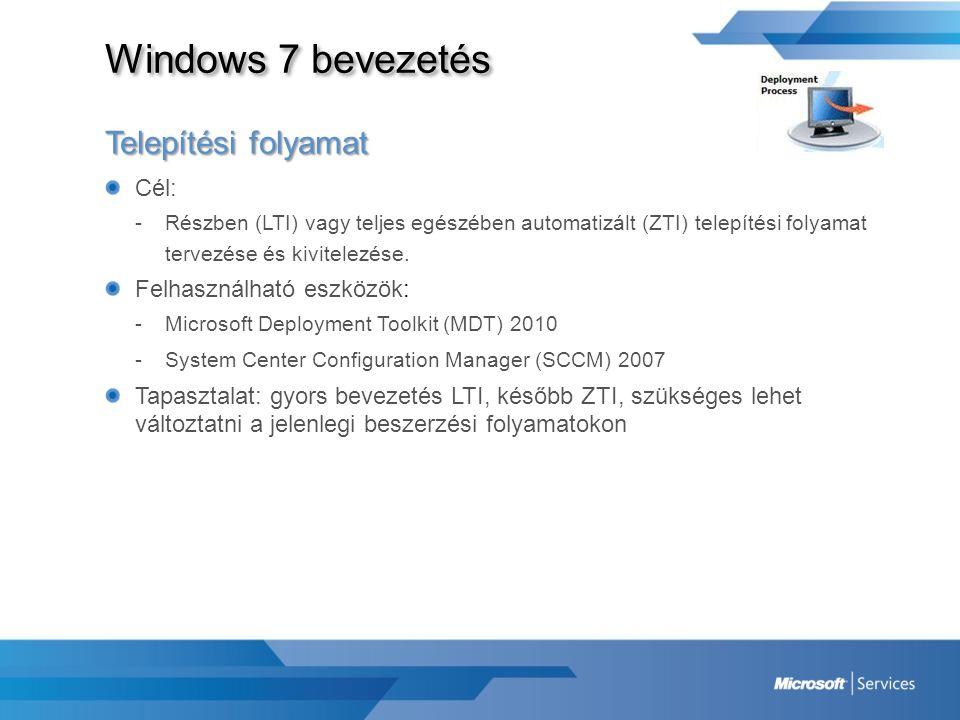 Windows 7 bevezetés Telepítési folyamat Cél: Felhasználható eszközök: