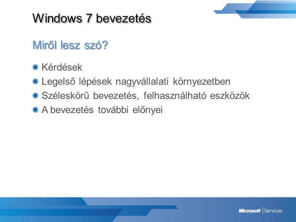 Windows 7 bevezetés Miről lesz szó Kérdések