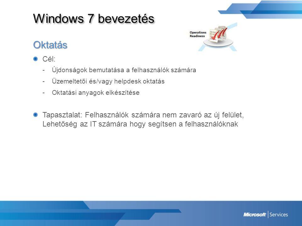 Windows 7 bevezetés Oktatás Cél: