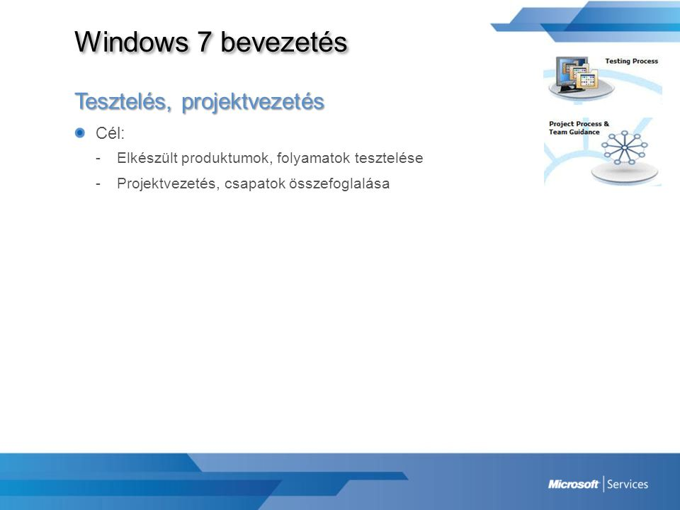 Windows 7 bevezetés Tesztelés, projektvezetés Cél: