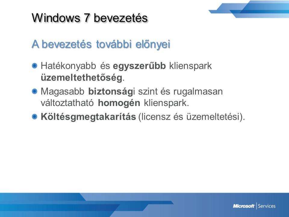 Windows 7 bevezetés A bevezetés további előnyei