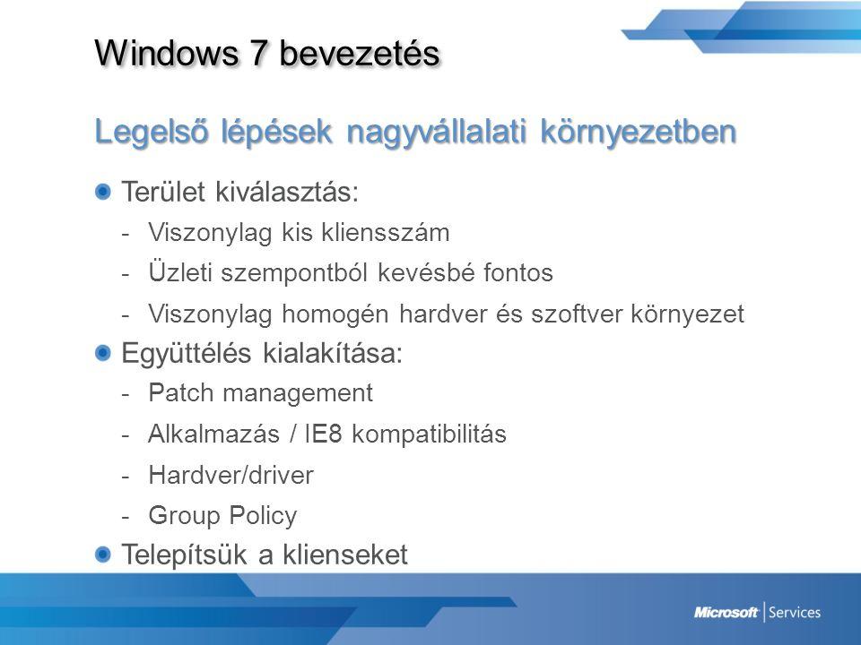 Windows 7 bevezetés Legelső lépések nagyvállalati környezetben