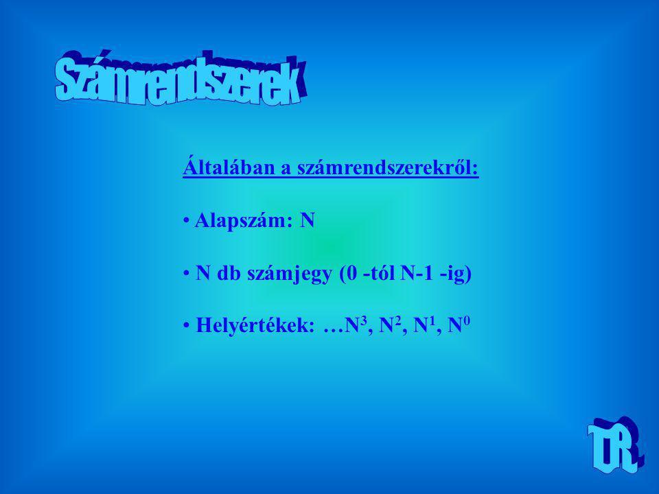 Számrendszerek T.R. Általában a számrendszerekről: Alapszám: N