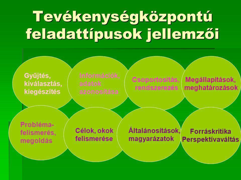 Tevékenységközpontú feladattípusok jellemzői