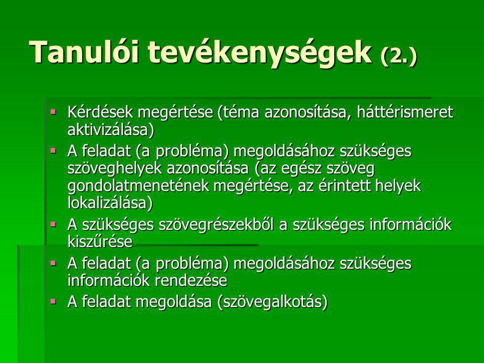 Tanulói tevékenységek (2.)