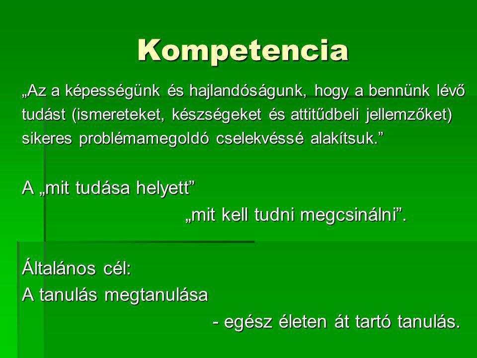 """Kompetencia A """"mit tudása helyett """"mit kell tudni megcsinálni ."""