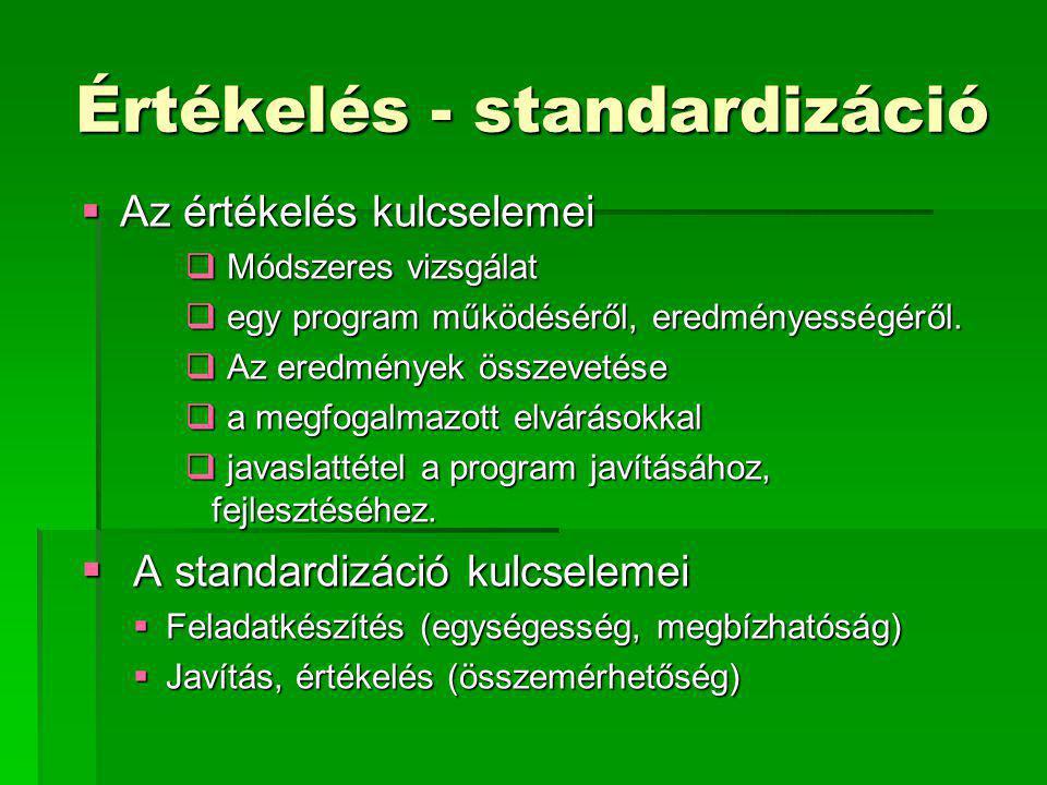 Értékelés - standardizáció