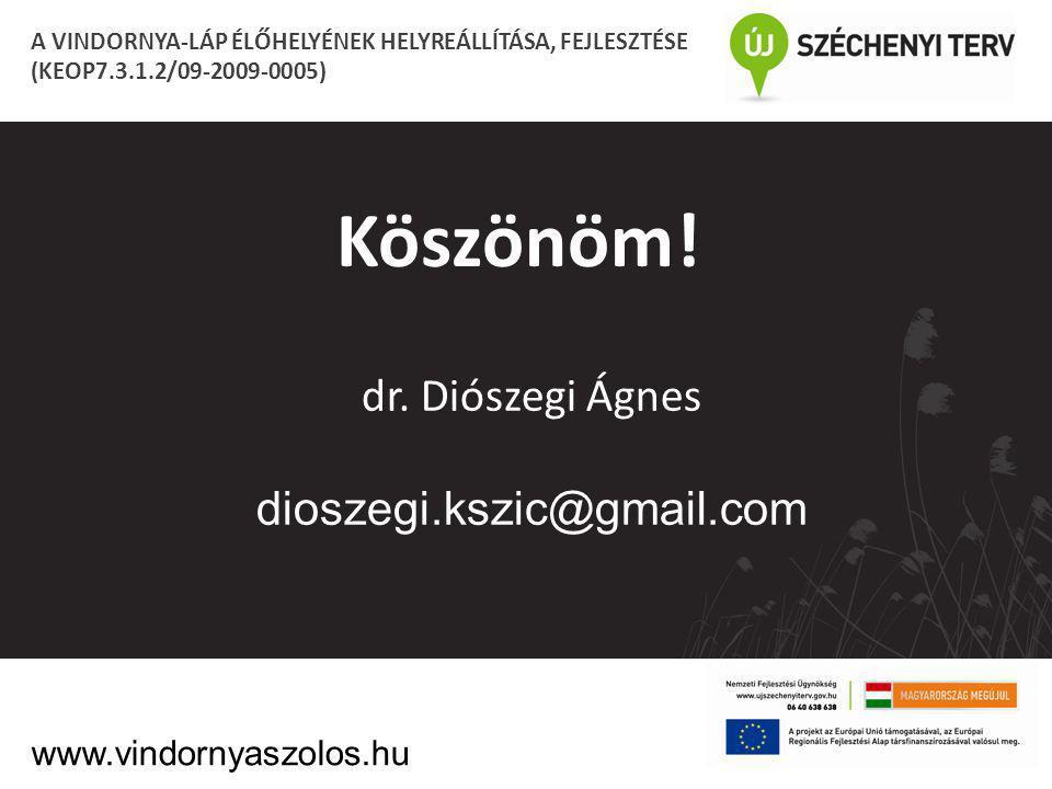 Köszönöm! dr. Diószegi Ágnes dioszegi.kszic@gmail.com