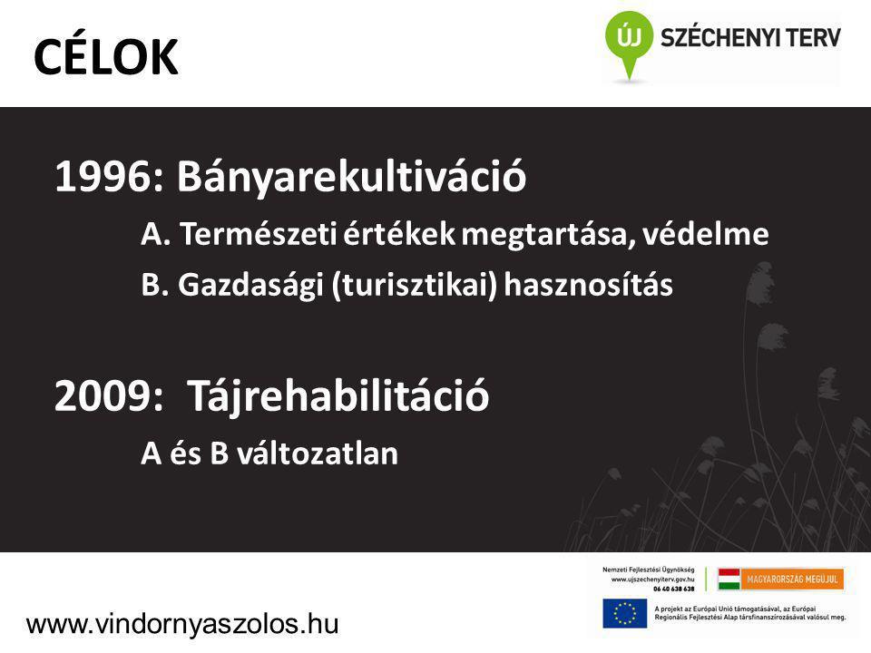 CÉLOK: 1996: Bányarekultiváció 2009: Tájrehabilitáció
