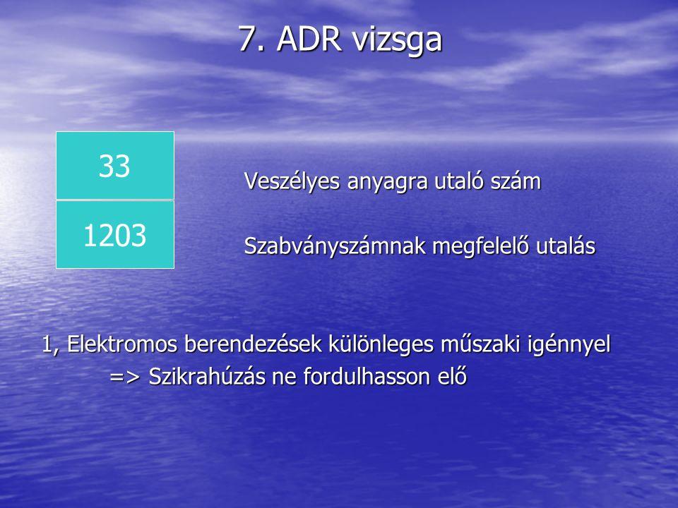 7. ADR vizsga 33 1203 Veszélyes anyagra utaló szám