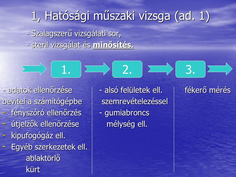 1, Hatósági műszaki vizsga (ad. 1)