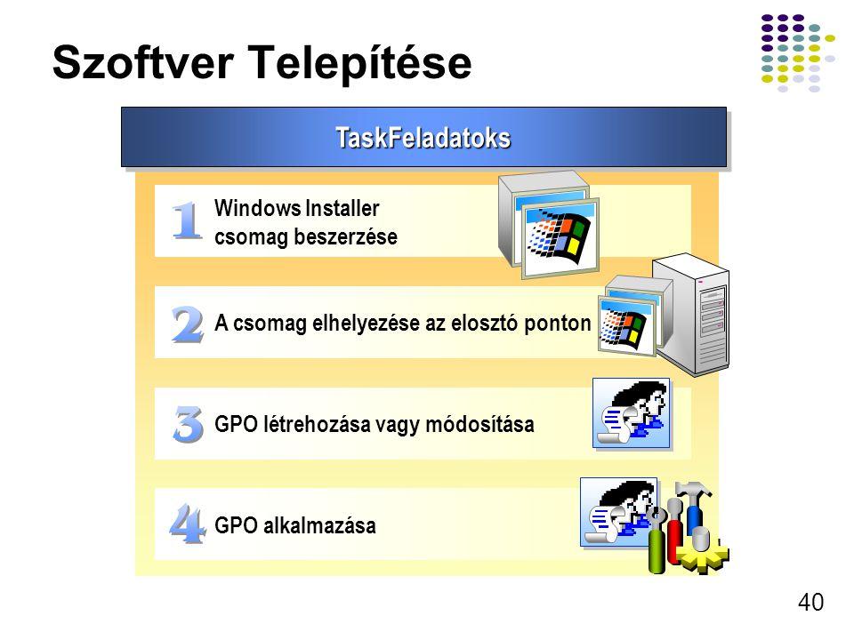 Szoftver Telepítése TaskFeladatoks Windows Installer csomag beszerzése