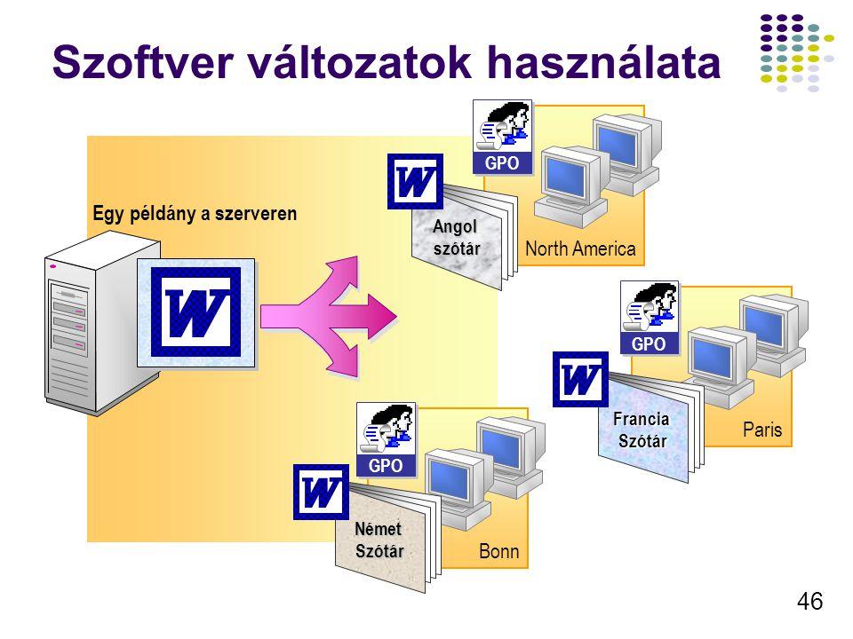 Szoftver változatok használata