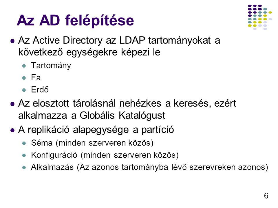 Az AD felépítése Az Active Directory az LDAP tartományokat a következő egységekre képezi le. Tartomány.