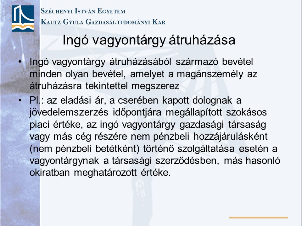 Ingó vagyontárgy átruházása