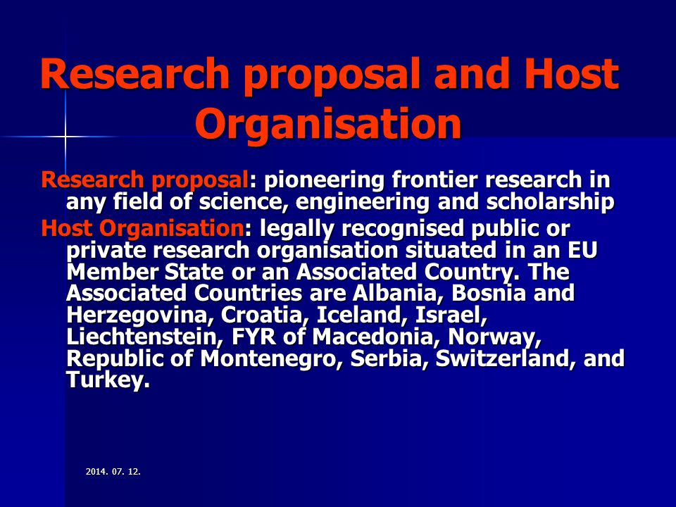 Research proposal and Host Organisation