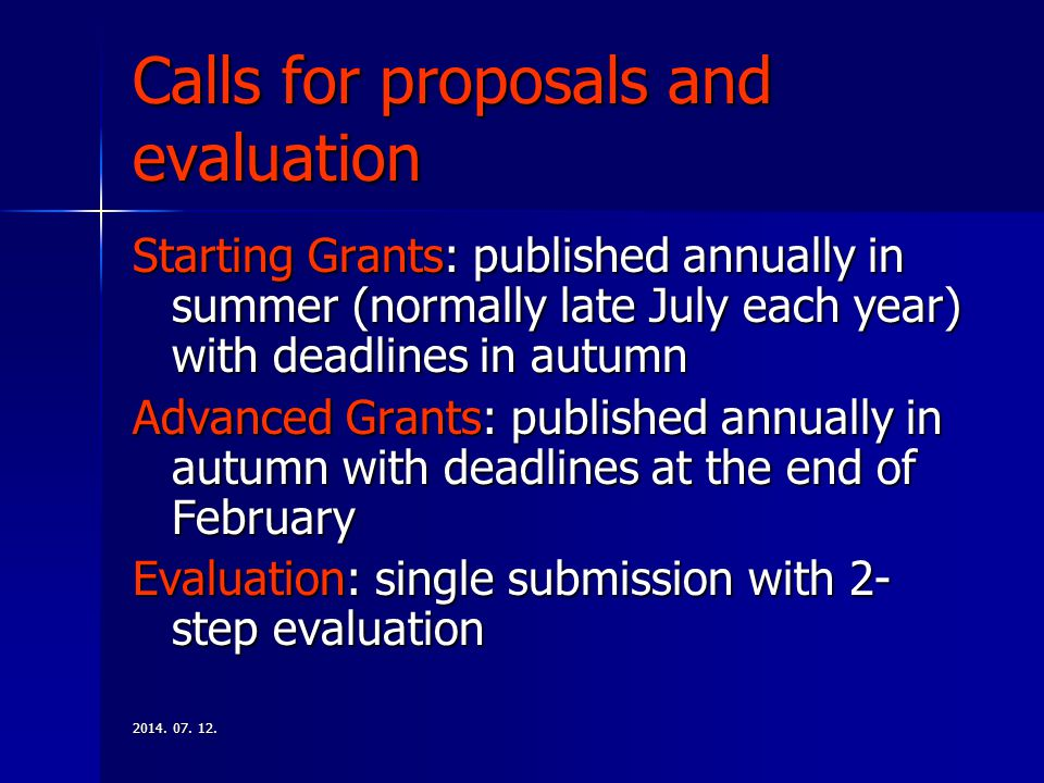 Calls for proposals and evaluation