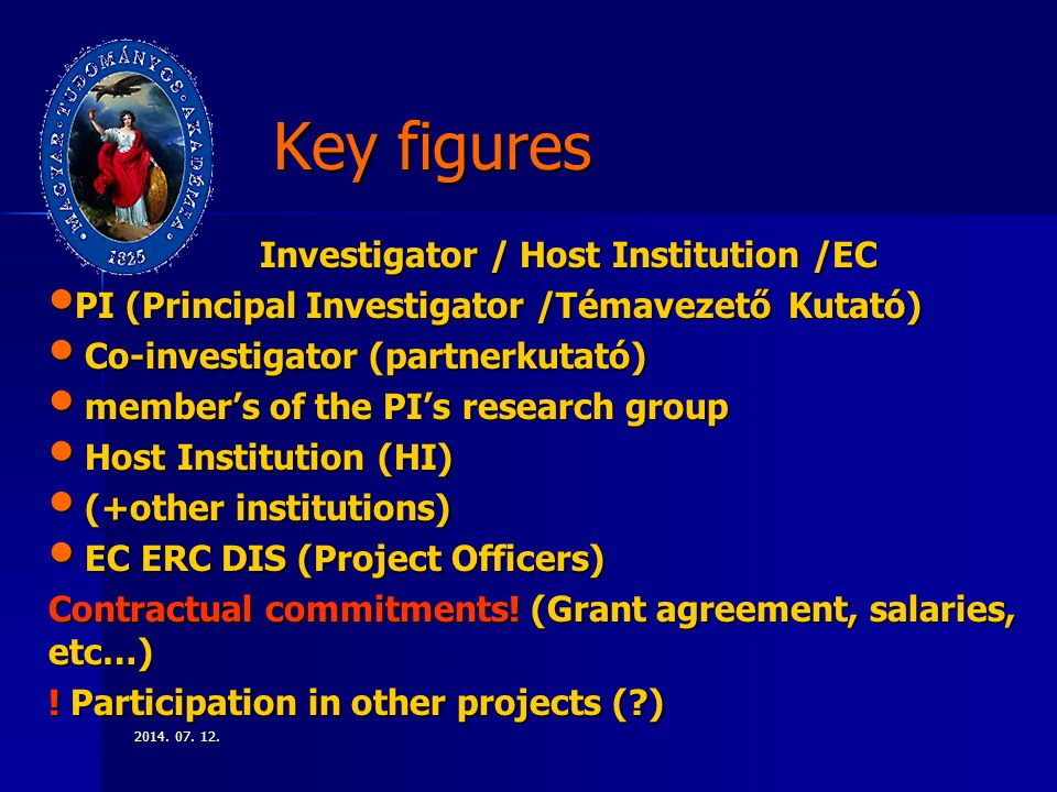Key figures Investigator / Host Institution /EC