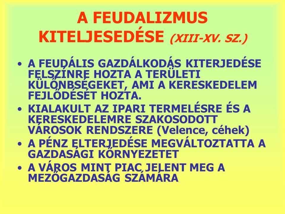 A FEUDALIZMUS KITELJESEDÉSE (XIII-XV. SZ.)