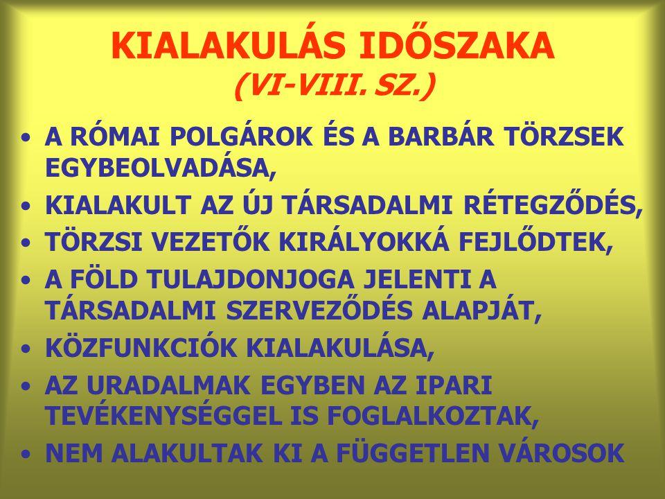 KIALAKULÁS IDŐSZAKA (VI-VIII. SZ.)