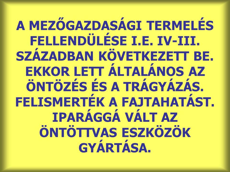 A MEZŐGAZDASÁGI TERMELÉS FELLENDÜLÉSE I. E. IV-III