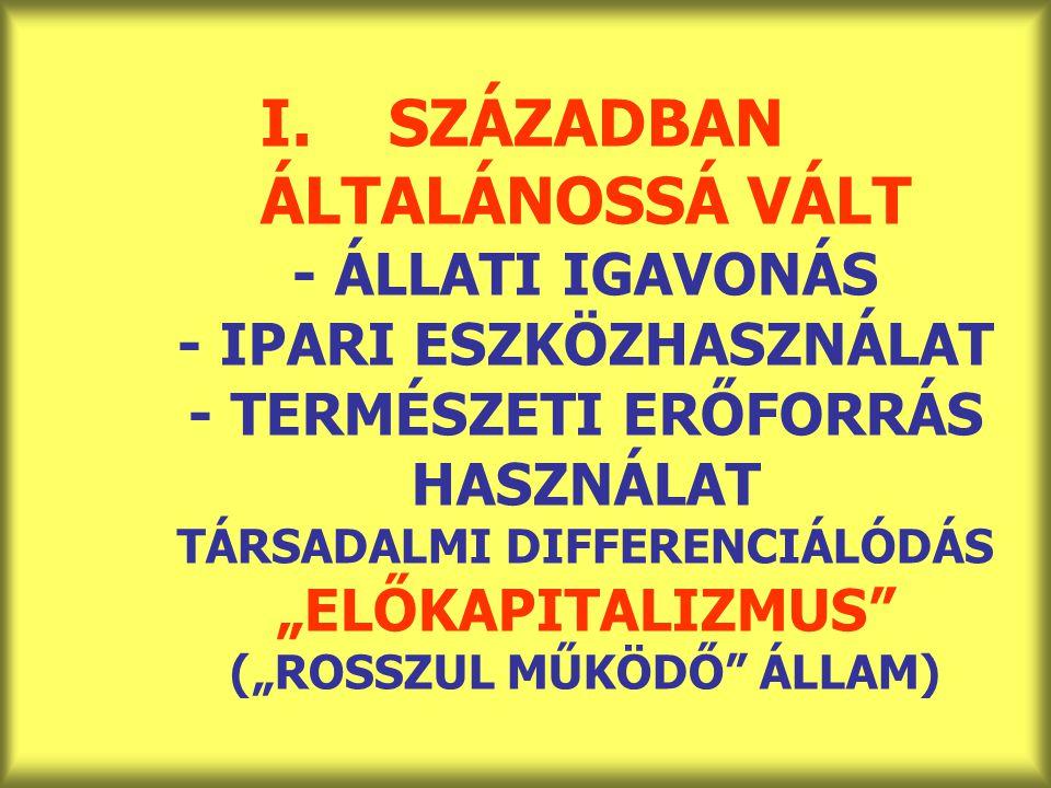 """SZÁZADBAN ÁLTALÁNOSSÁ VÁLT - ÁLLATI IGAVONÁS - IPARI ESZKÖZHASZNÁLAT - TERMÉSZETI ERŐFORRÁS HASZNÁLAT TÁRSADALMI DIFFERENCIÁLÓDÁS """"ELŐKAPITALIZMUS (""""ROSSZUL MŰKÖDŐ ÁLLAM)"""