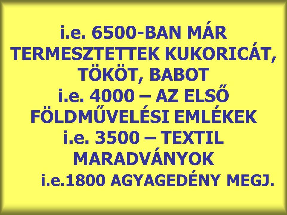 i. e. 6500-BAN MÁR TERMESZTETTEK KUKORICÁT, TÖKÖT, BABOT i. e