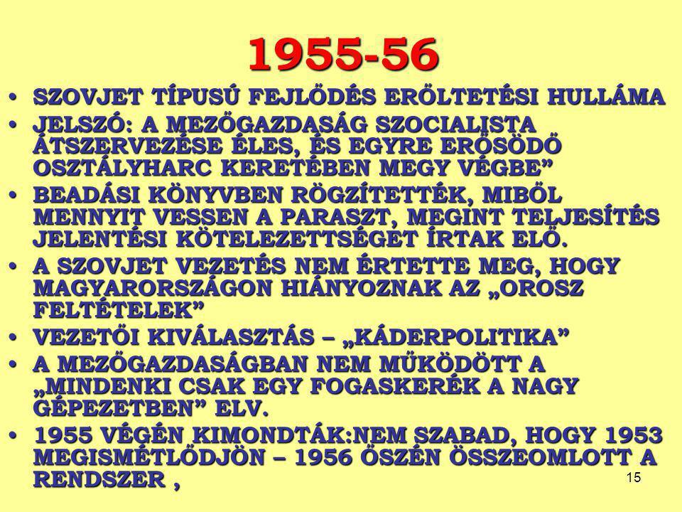 1955-56 SZOVJET TÍPUSÚ FEJLŐDÉS ERŐLTETÉSI HULLÁMA