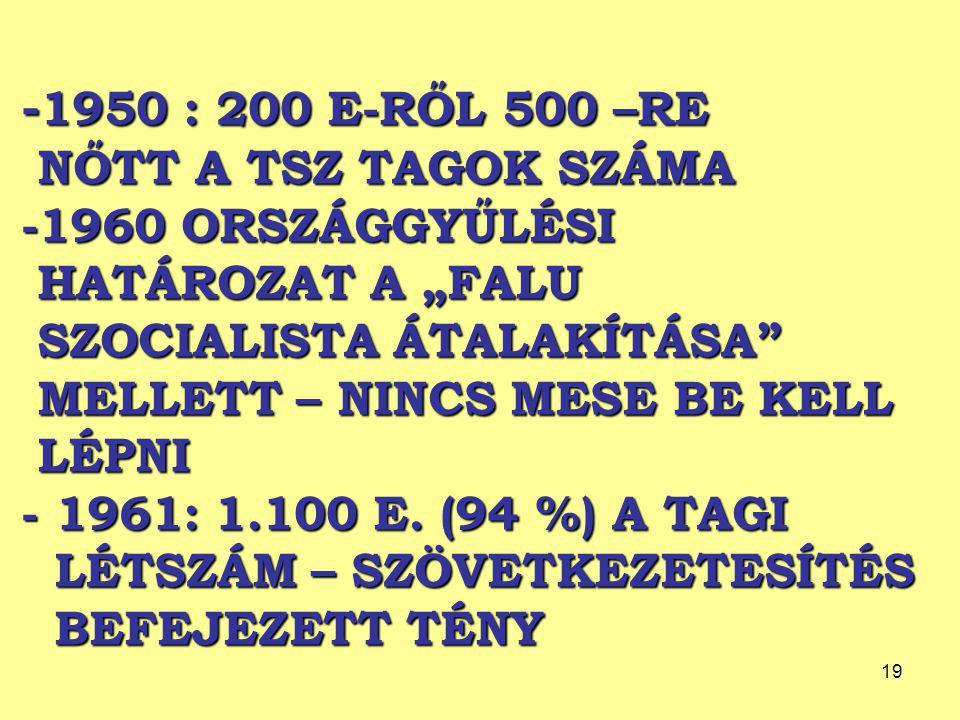 """-1950 : 200 E-RŐL 500 –RE NŐTT A TSZ TAGOK SZÁMA -1960 ORSZÁGGYŰLÉSI HATÁROZAT A """"FALU SZOCIALISTA ÁTALAKÍTÁSA MELLETT – NINCS MESE BE KELL LÉPNI - 1961: 1.100 E."""