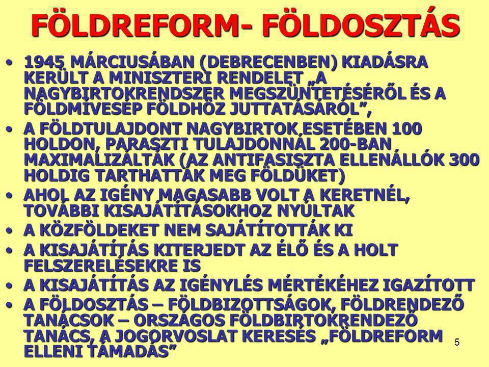 FÖLDREFORM- FÖLDOSZTÁS