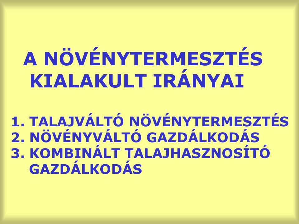 A NÖVÉNYTERMESZTÉS KIALAKULT IRÁNYAI 1. TALAJVÁLTÓ NÖVÉNYTERMESZTÉS 2