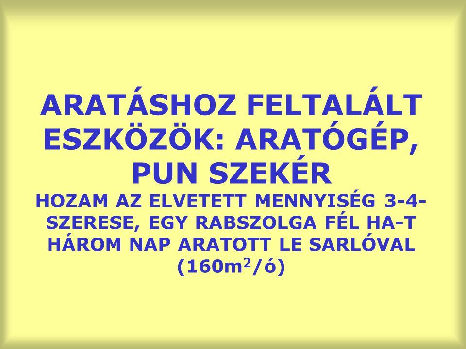 ARATÁSHOZ FELTALÁLT ESZKÖZÖK: ARATÓGÉP, PUN SZEKÉR HOZAM AZ ELVETETT MENNYISÉG 3-4-SZERESE, EGY RABSZOLGA FÉL HA-T HÁROM NAP ARATOTT LE SARLÓVAL (160m2/ó)